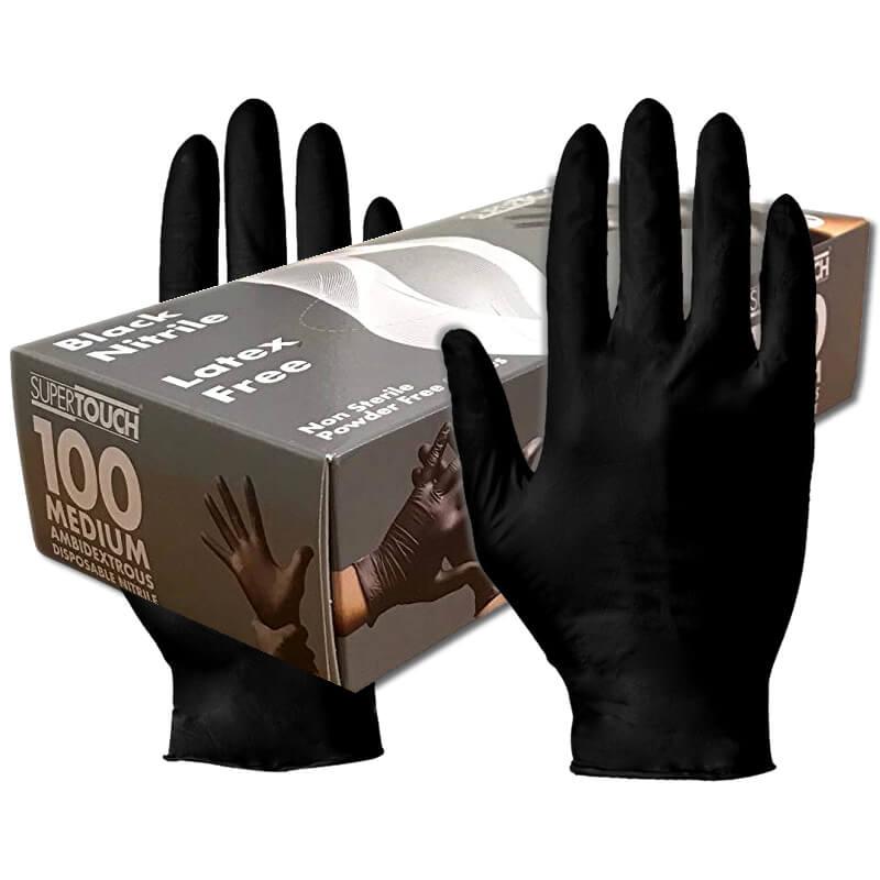 Supertouch Black Powder Free Nitrile Gloves (100 Gloves)